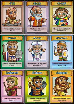 image about Printable Bible Characters titled Absolutely free Printable Bible Card Game titles.